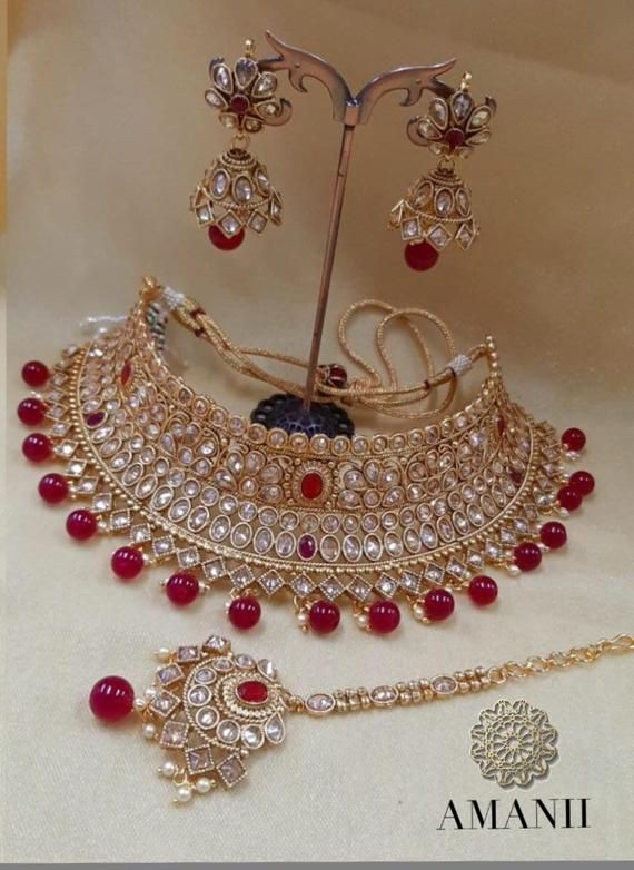 Navrari  sale wedding bridal set necklace  earrings kundan red with Free Chura bridal gold Tone fashion Indian