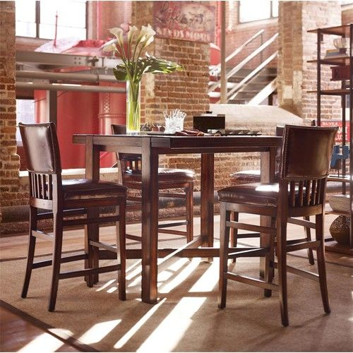 Merveilleux Modern Craftsman Five Piece Pub Set With Upholstered Seat Chairs By Stanley  Furniture   Baeru0027s Furniture