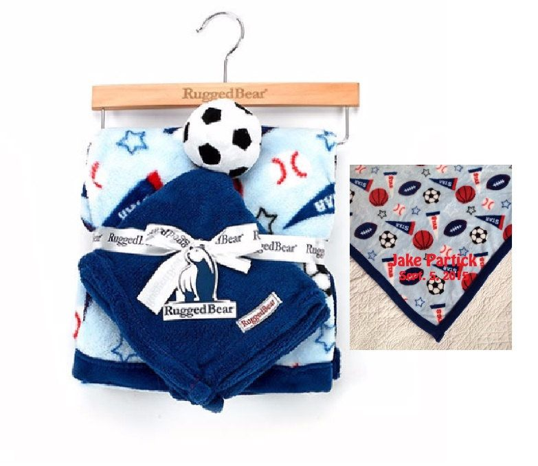 Rugged Bear Sports Blanket With Soccer