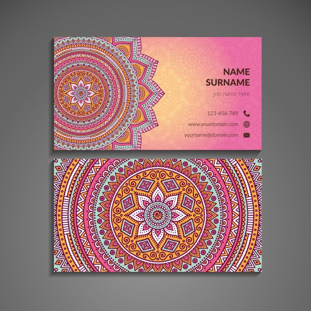 Download Pink Business Card With Mandala In Boho Style For Free Graphic Design Business Card Visiting Card Design Best Visiting Card Designs