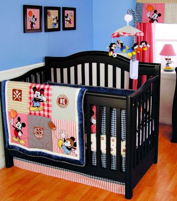 Baby Mickey Mouse Disney Sports Theme Nursery Crib Bedding Set With Soccer Baseball And Football Lique For A Boy