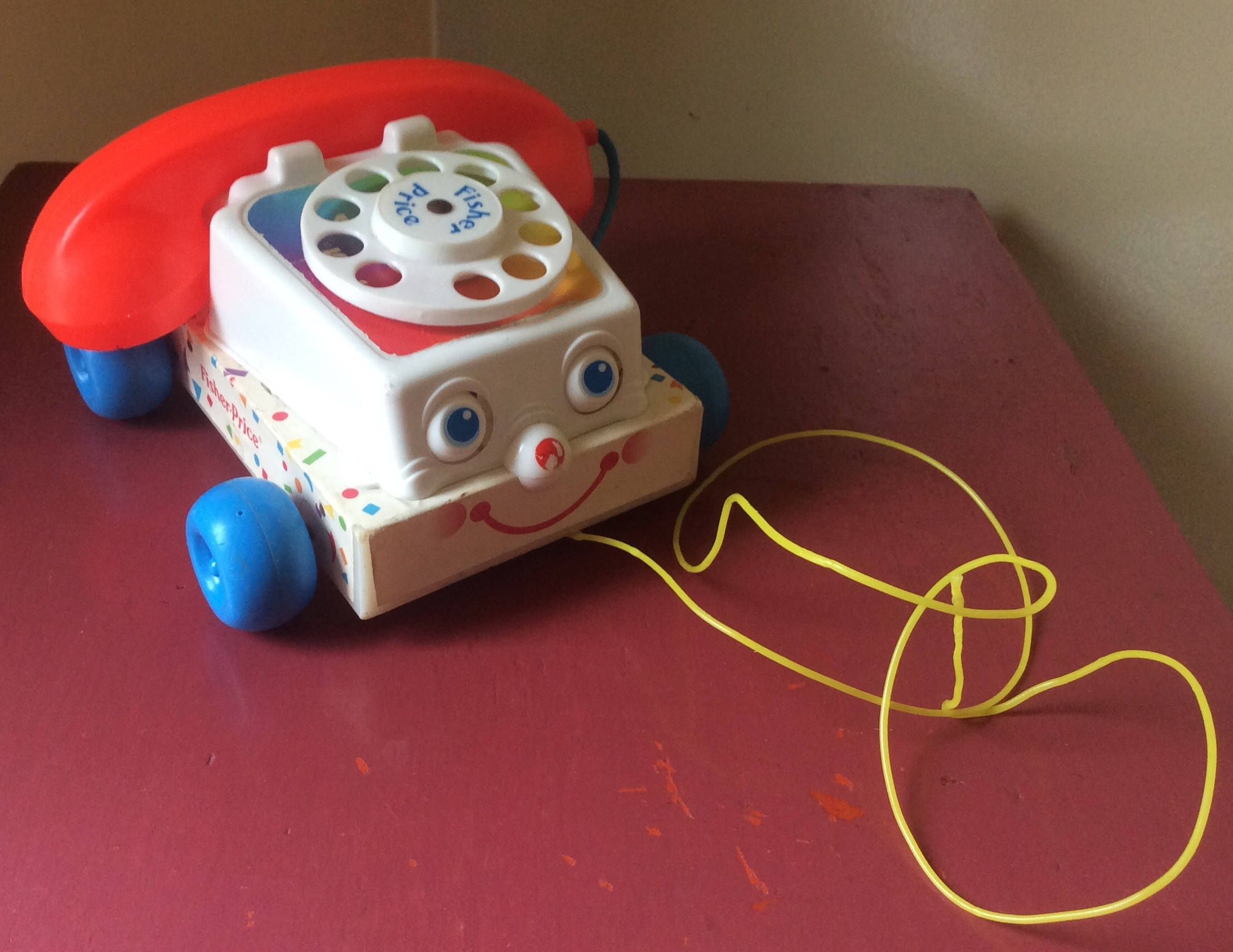 vintage authentic novelty fisher price retro rotary phone toy 1980s 1970s 1960s for children nostalgia pull toy telephone toy by mandemsclevercache on etsy [ 2217 x 1713 Pixel ]