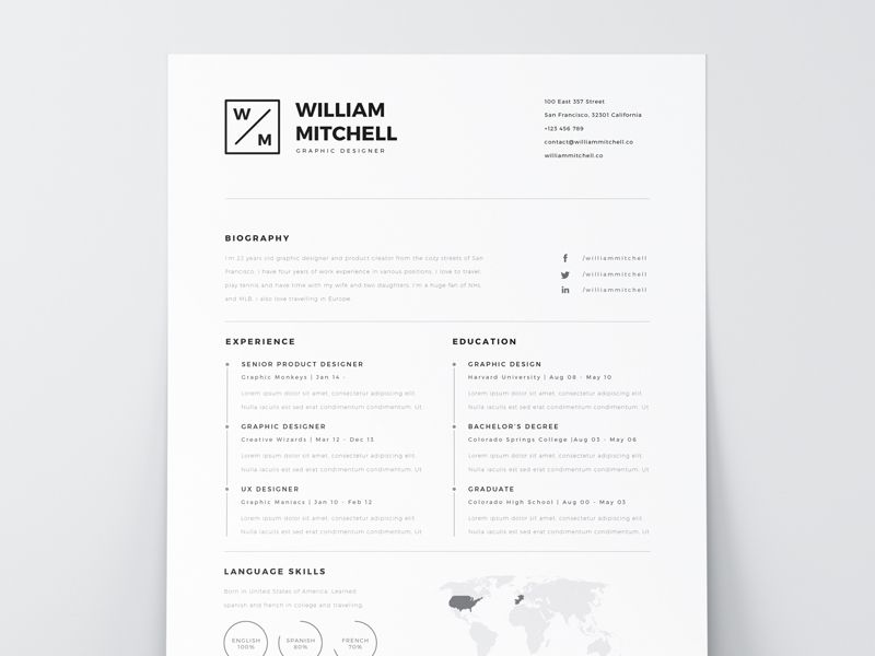 Free Resume Template PSD \ AI Resume styles, Cv resume template - clean resume design