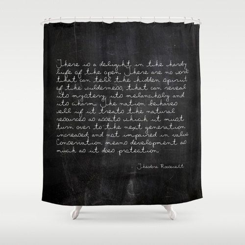 Theodore Roosevelt Quote Shower Curtain, Rustic Shower Curtain ...
