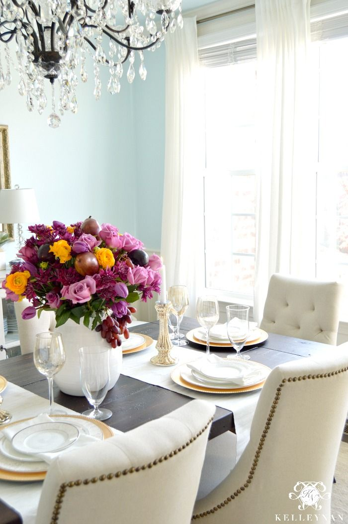 Kelley Nan: Simple Spring Table With A Vibrant Purple Centerpiece  Elegant Blue  Dining Room