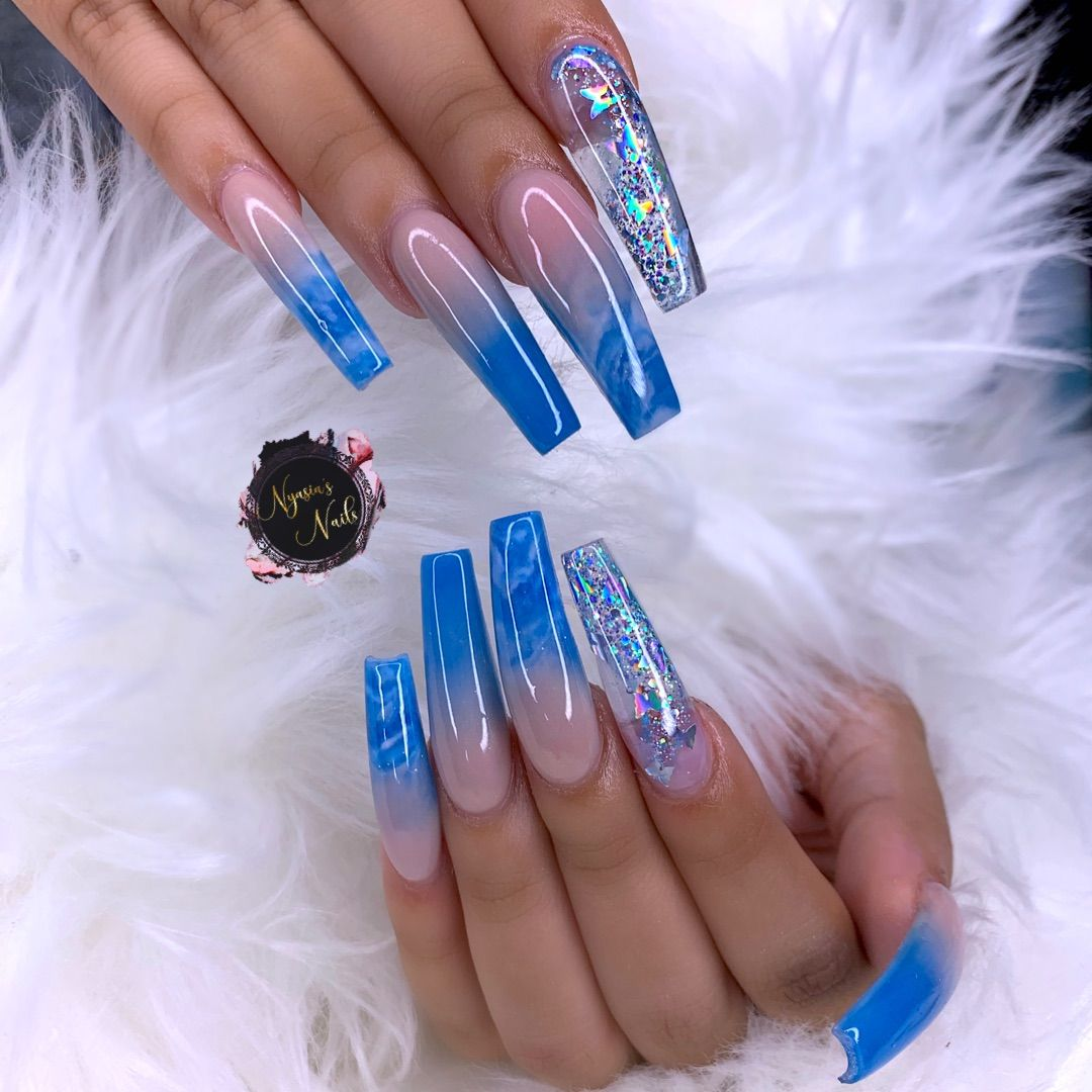 Long Ombre Blue Acrylic Nails Coffin Shape Blue Acrylic Nails Coffin Shape Nails Acrylic Nails Coffin