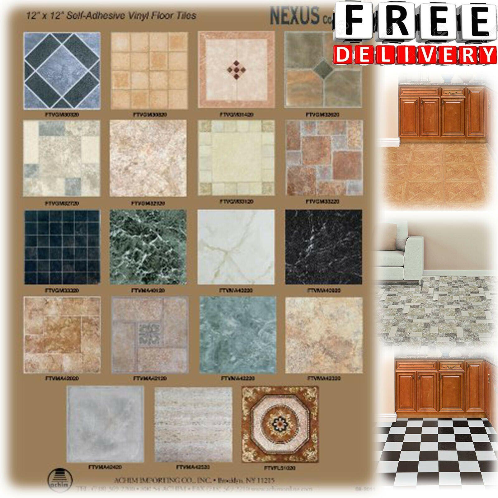 Vinyl Floor Tile Self Adhesive 12x12 20 Pack Kitchen Bathroom
