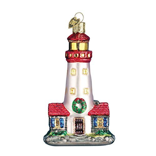 old world christmas lighthouse glass blown ornament beachfront decor