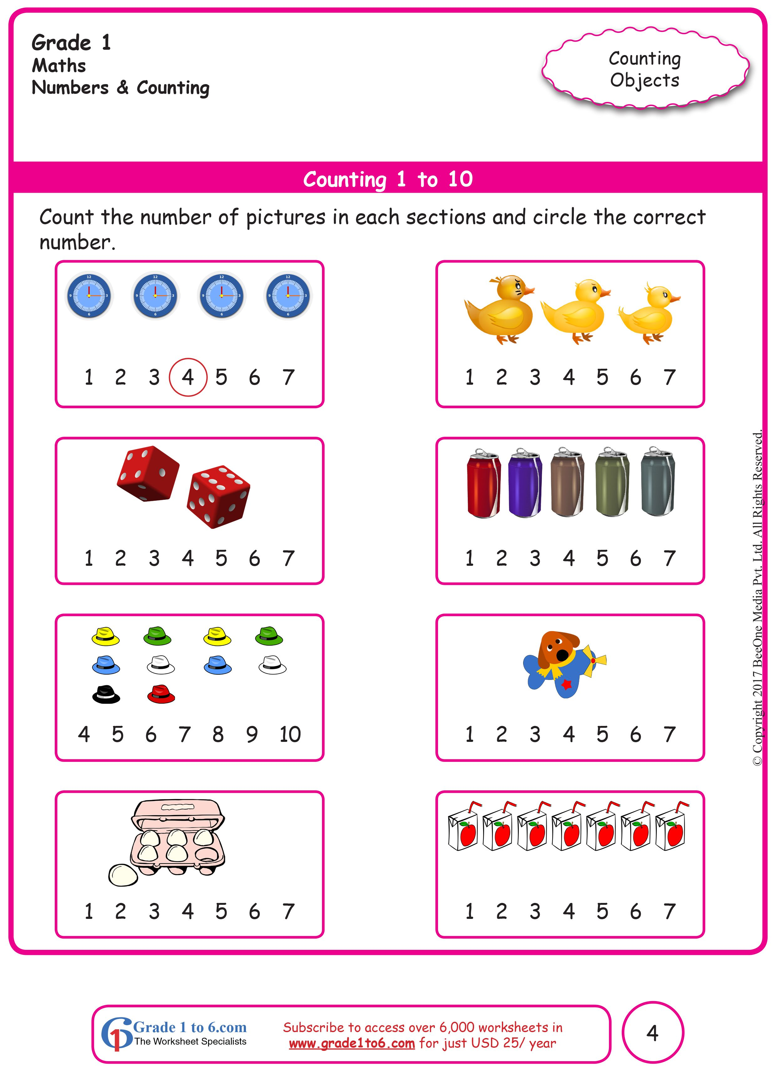 Counting Objects Worksheets Grade 1 Math   Kids math worksheets [ 3418 x 2480 Pixel ]