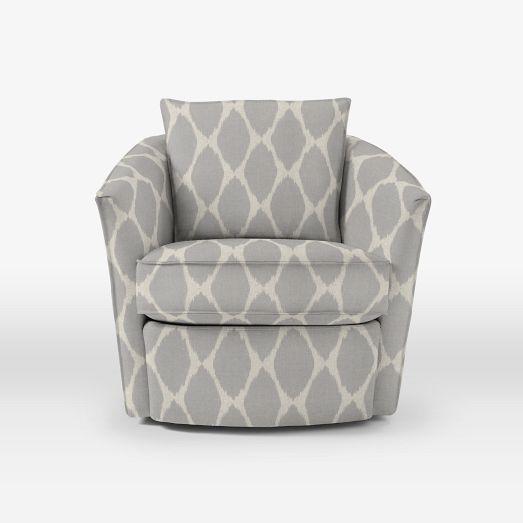 Duffield Swivel Chair Chevron Platinum Upholstered