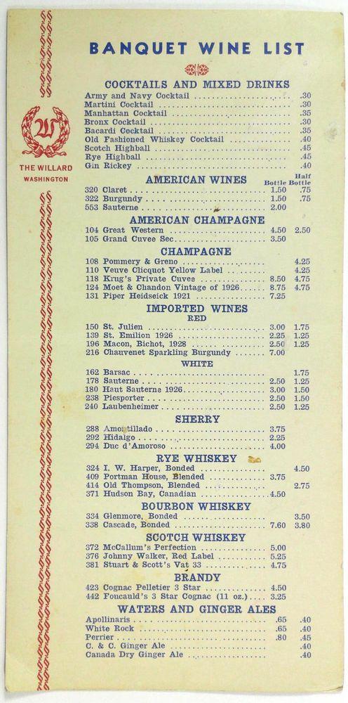 S Vintage Banquet Wine List Menu Card The Willard Hotel