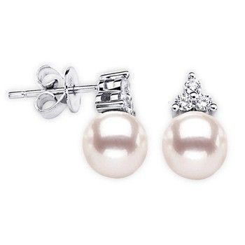 Angara Akoya Cultured Pearl Stud Earrings with Pave Diamonds
