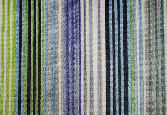 Bright Multicolours Geometric Line Stripe Pattern Woven Velvet Upholstery Fabric