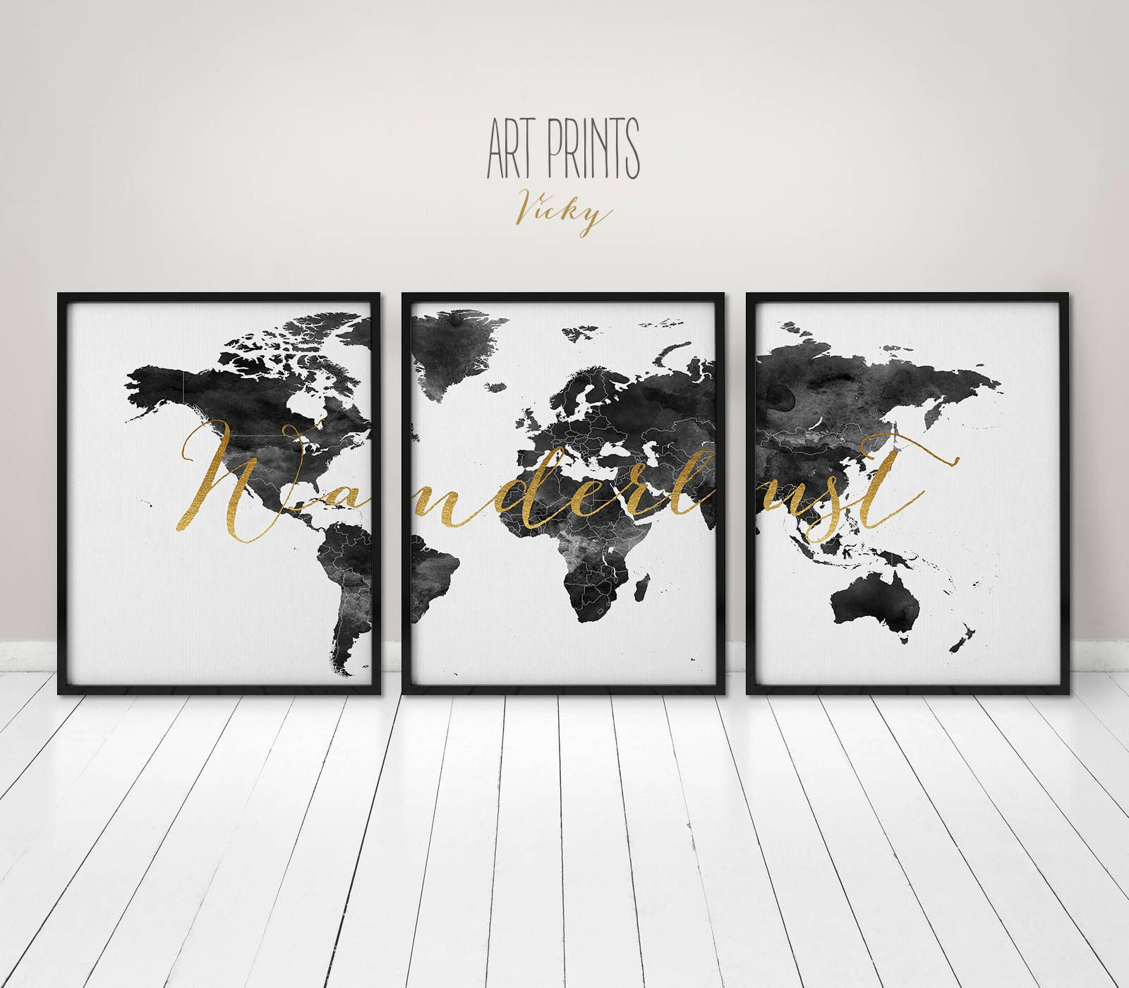 Wanderlust world map poster 3 pieces world map print black and wanderlust world map poster 3 pieces world map print black and white wall art gumiabroncs Choice Image