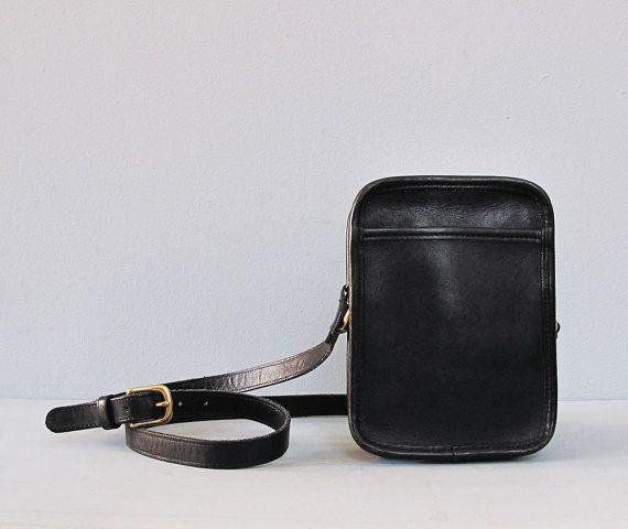vintage black COACH leather rectangle bag by secretlake on Etsy