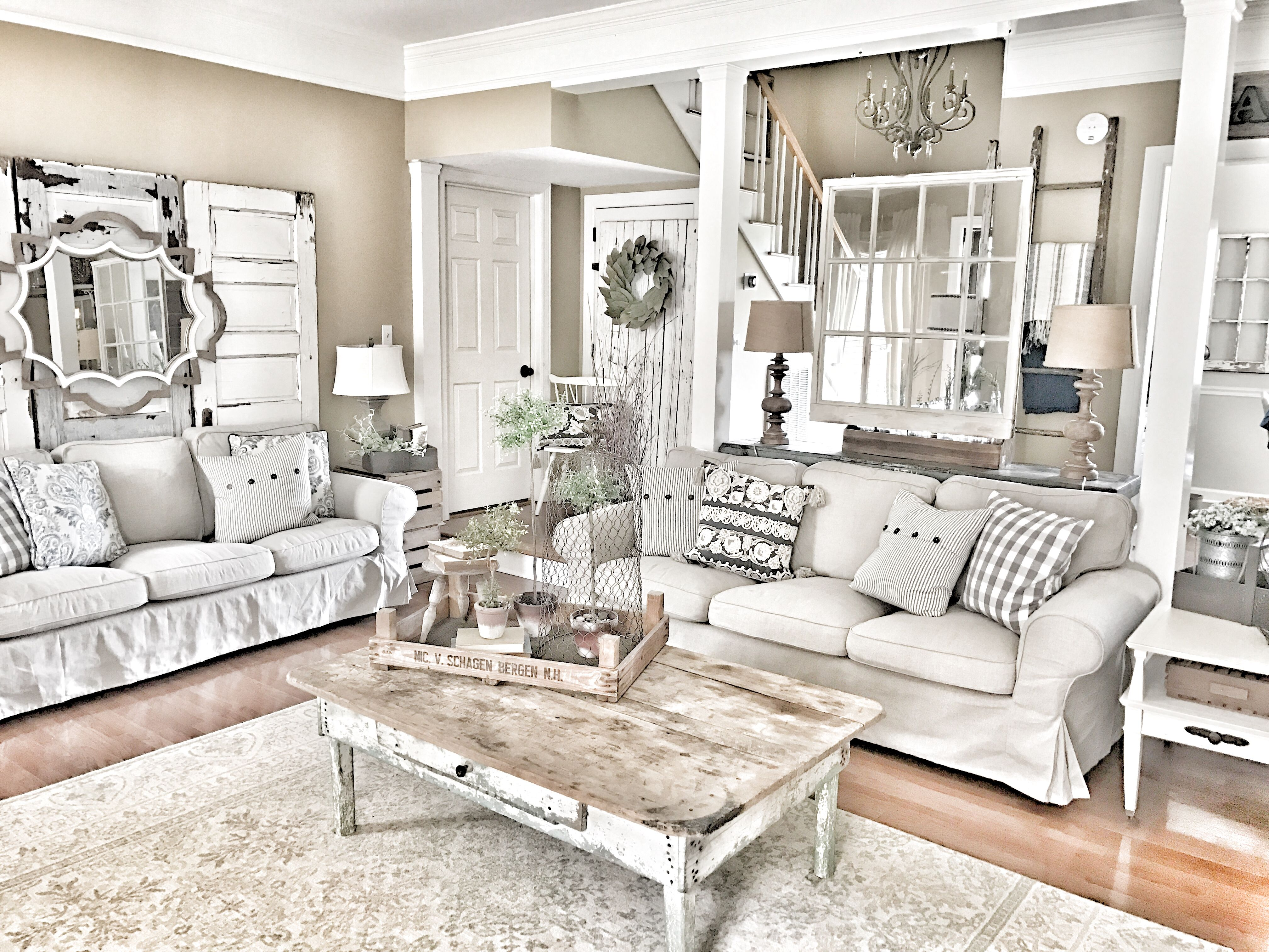 Farmhouse living room IKEA Ektorp couches IG bless_this