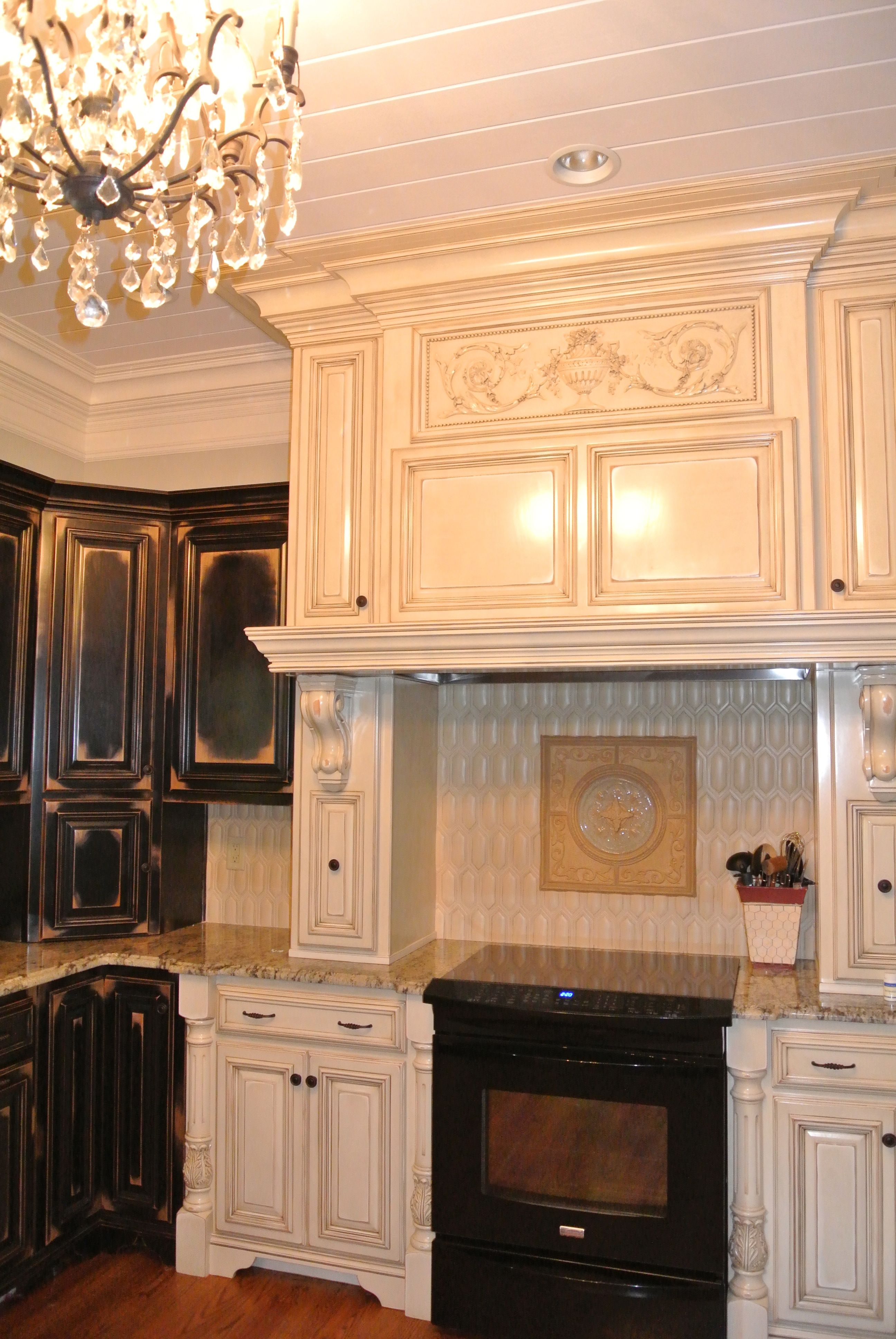 French Country Kitchen Mantel Over Stove Rustic Cabinets