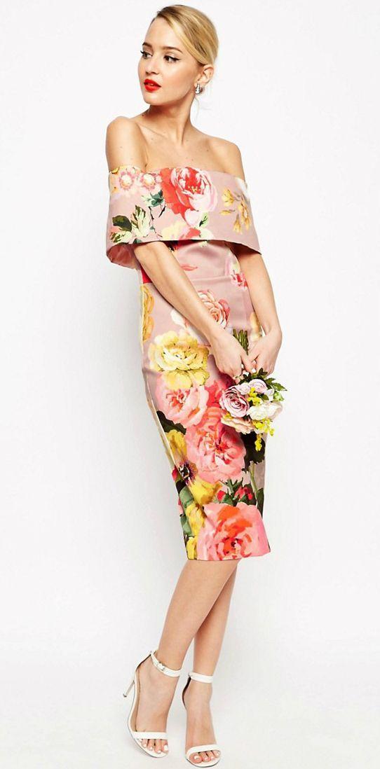Off the shoulder floral wedding guest dress | Guest dresses