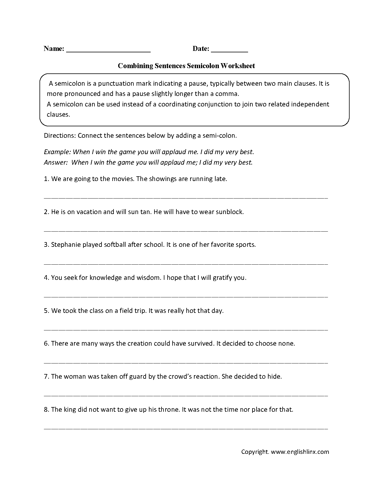 Combining Sentences Semicolon Worksheets