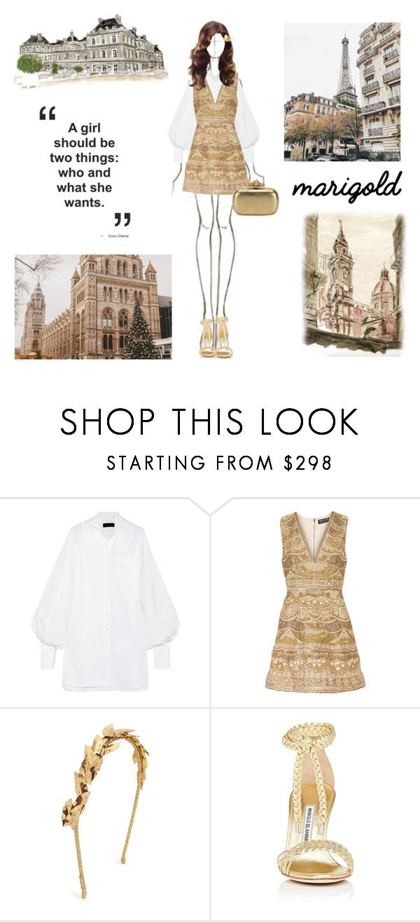 """""""Untitled #398"""" by khanhngan2002 ❤ liked on Polyvore featuring Burberry, Alice + Olivia, Jennifer Behr, Manolo Blahnik and Alexander McQueen"""