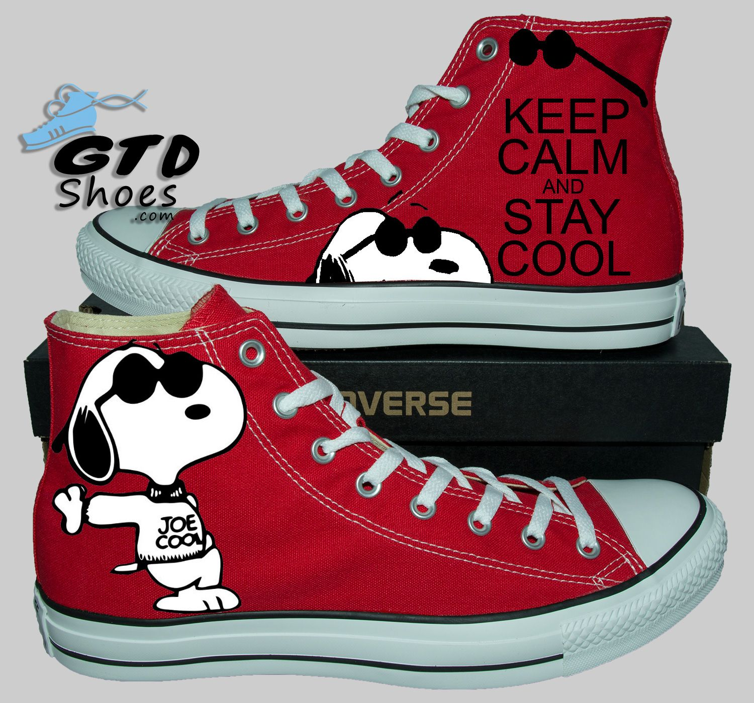 e21376dd4c6 Snoopy Joe Cool - Custom painted converse WEBSITE- http   www.gtdshoes
