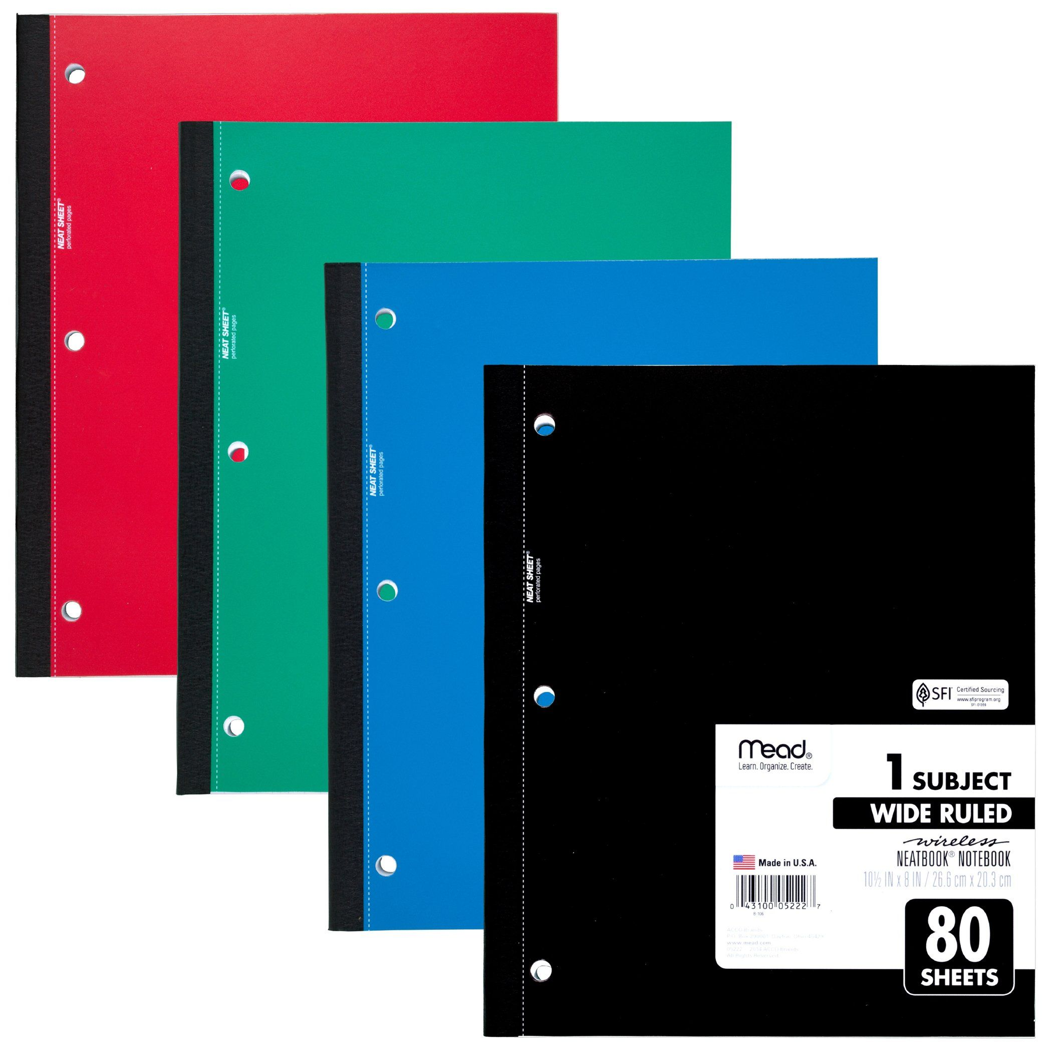 The 1 Subject Neatbook notebook has wireless binding that makes it snag free and easy to take on the go. Wide ruled sheets maximize space for notetaking at school, work or home. 80 sheets each, bundle of 12, 12 notebooks total