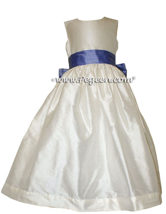 6e5aeb6a2f6 Flower Girl Dresses by Pegeen.com Style 398 - Antique White with Euro Peri  sash. All silk with attached crinoline from our Classic Collection by  Pegeen.com ...