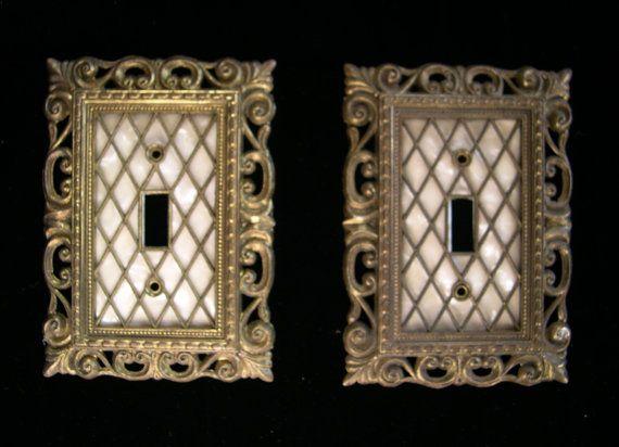 Vintage Decorative Metal Ornate Light Switch Covers Dated 1968 Etsy Metal Decor Light Switch Covers Vintage Light Switches