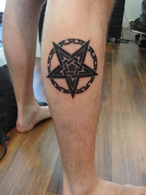 Black Pentagram In Satanic Tattoo On Right Leg Tattoo Tattoos