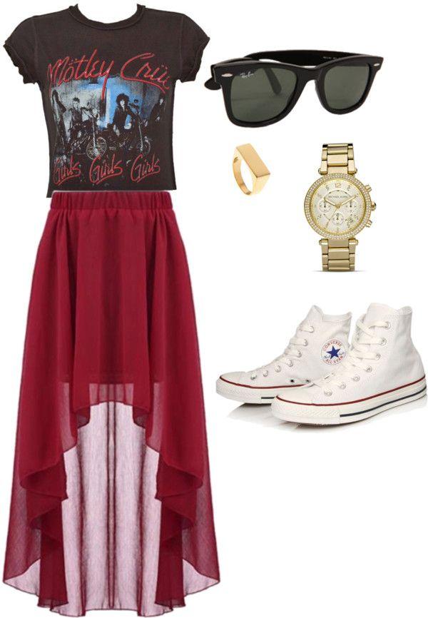 """Motly Crue """"Girls Girls Girls"""" crop tee, Irregular Hem Wine Red Chiffon Skirt, Converse white hi tops, ray-bans"""