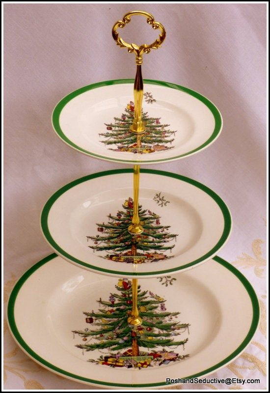 Christmas Tree Three Tier Graduated Plates Handmade Cake Stand Iconic Festive Thanksgiving Table Centrepiece Spode Traditional English China Christmas Table Centerpieces Handmade Christmas Tree Themes