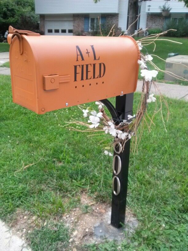 Our new mailbox! Lowes adhesive numbers, post, spray paint