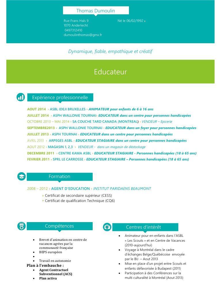 Modele Cv Dans L Animation Cv Job Etudiant Cv Type Lettre De Motivation Type