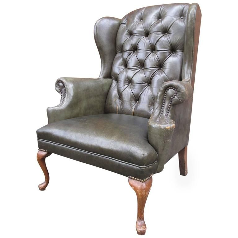 White Leather Wingback Chair Swivel Recliner Real Queen Anne Tufted Antiques Pinterest 1stdibs Com