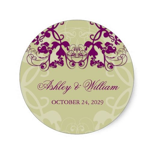 fatfatin Floral Flourish Purple Wedding Sticker