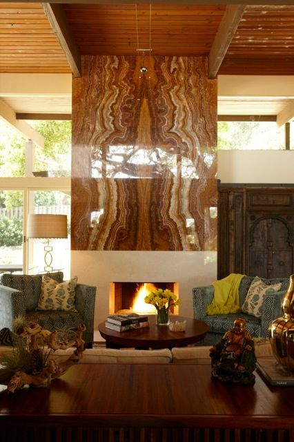 Onyx Bookmatched Fireplace