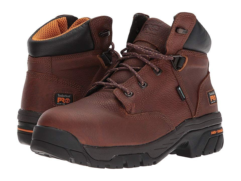 Timberland PRO Helix 6 Alloy Toe Brown FullGrain Leather Mens Work Boots Protect yourself in the workplace with the reliable Helix 6 Waterproof Safety Toe by Timberland P...