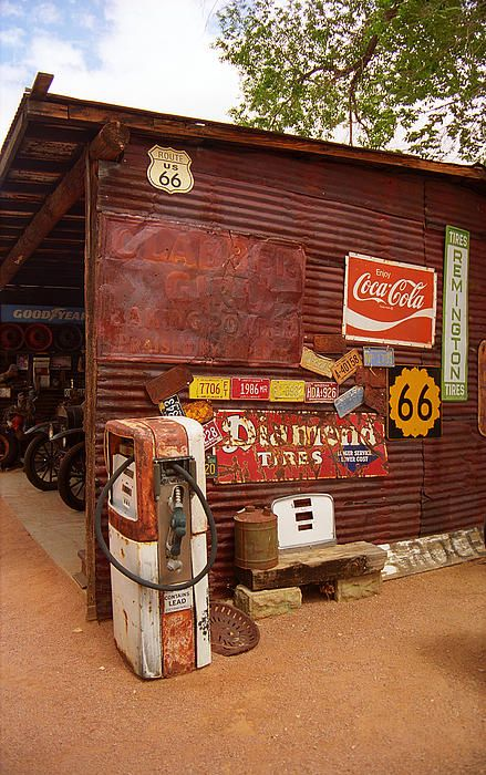 "Route 66 Garage And Pump, Hackberry, Illinois. ""The Fine Art Photography of Frank Romeo."""