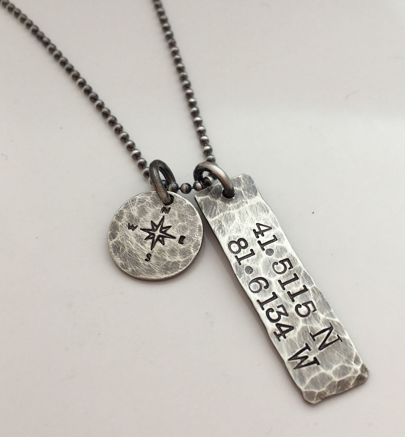 Graduation Gift For Him Silver Bar Necklace Custom Coordinates Men S Personalized Jewelry Custom Location Gift For Him Birthday Silver Bar Necklace Custom Coordinates Necklace Coordinates Necklaces