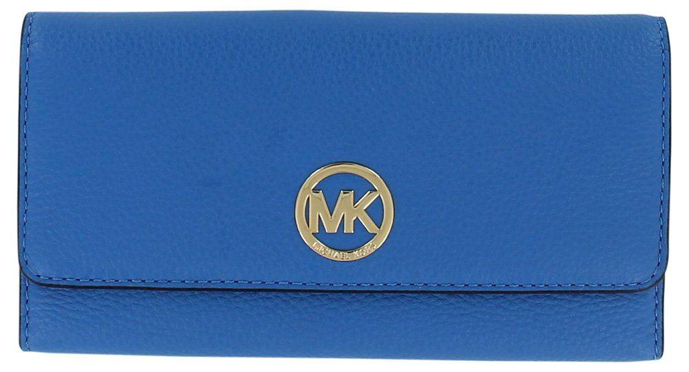 "Michael Kors Women's 32H4GFTF3L Fulton Tri-Fold Snap Wallet Blue. soft venus pebble leather. flap with snap closure. ID window, 7 credit card slots, zip pocket and 2 slip pockets inside. back slip pocket outside. approx. 8(L) x 4(H) x 1(D)""."