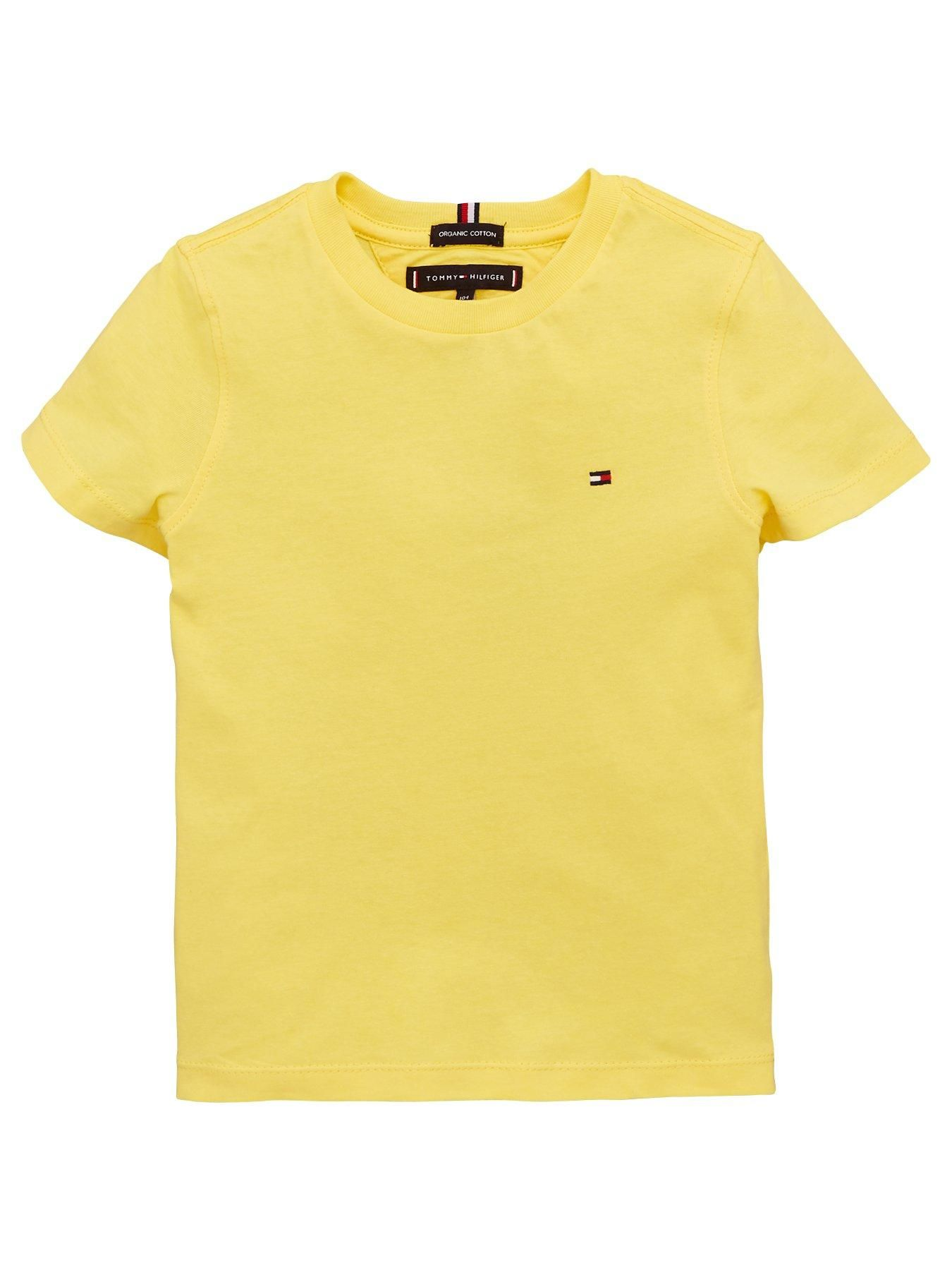 Boys Essential Flag Short Sleeve T Shirt Yellow Tommy Hilfiger Boys T Shirts T Shirt