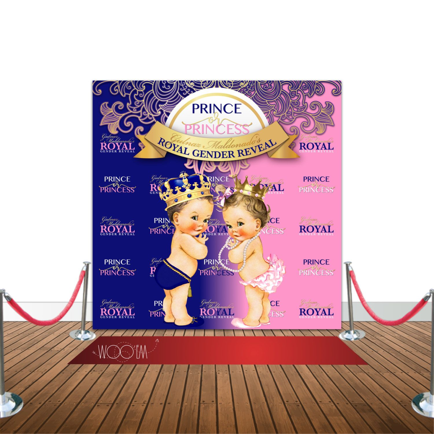 Royal Baby Shower Gender Reveal 8x8 Backdrop / Step