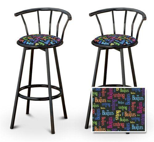 2 Beatles Music Rainbow Colored Specialty Custom Black Barstools