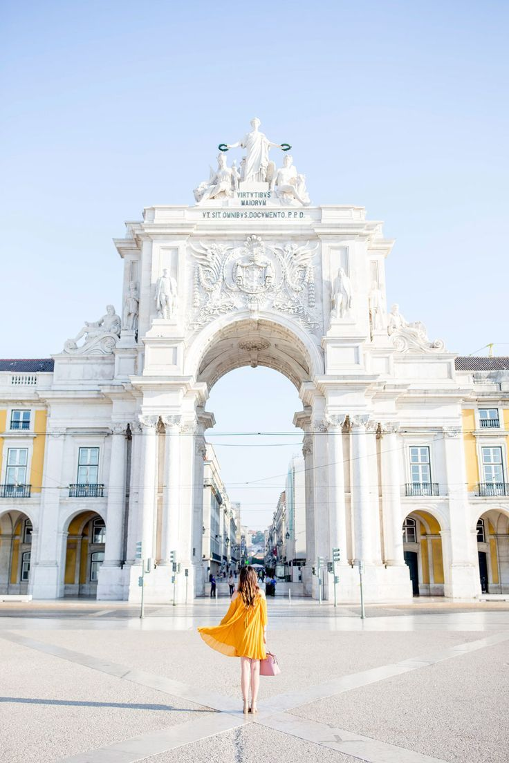 Yellow Pleated Cold Shoulder Dress in Lisbon Portugal