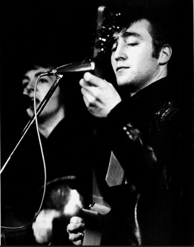 1961 - John Lennon and Paul McCartney, Top Ten Club, Hamburg, Germany (photo by Jürgen Vollmer).