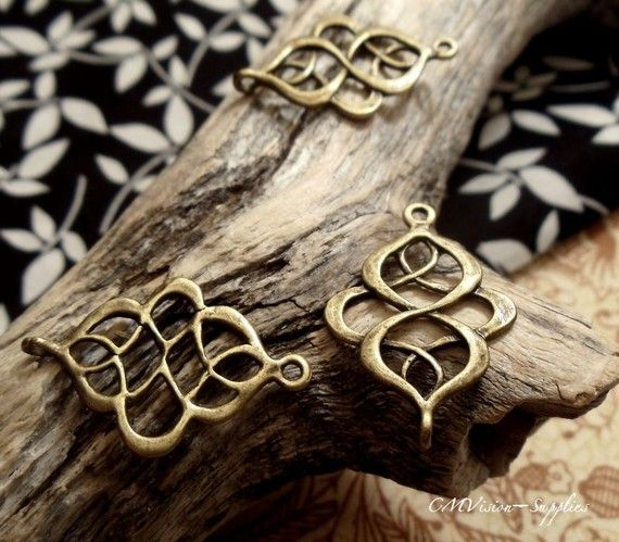 8 pcs of Antique Bronze Filigree Connector Charms by CMVision, $2.89