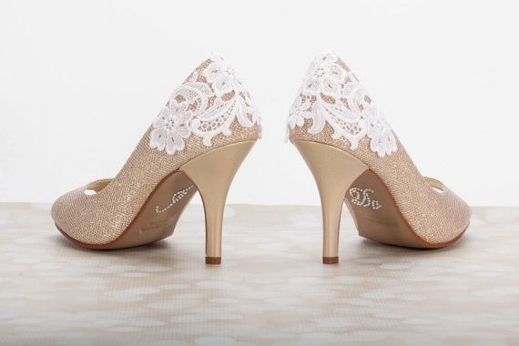 Lace Shoes Wedding 3 Inch Heel Champagne Gold By Parisxox