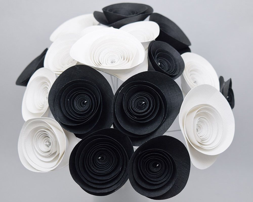 Black And White Party Centerpiece 18 Black White Paper Flowers