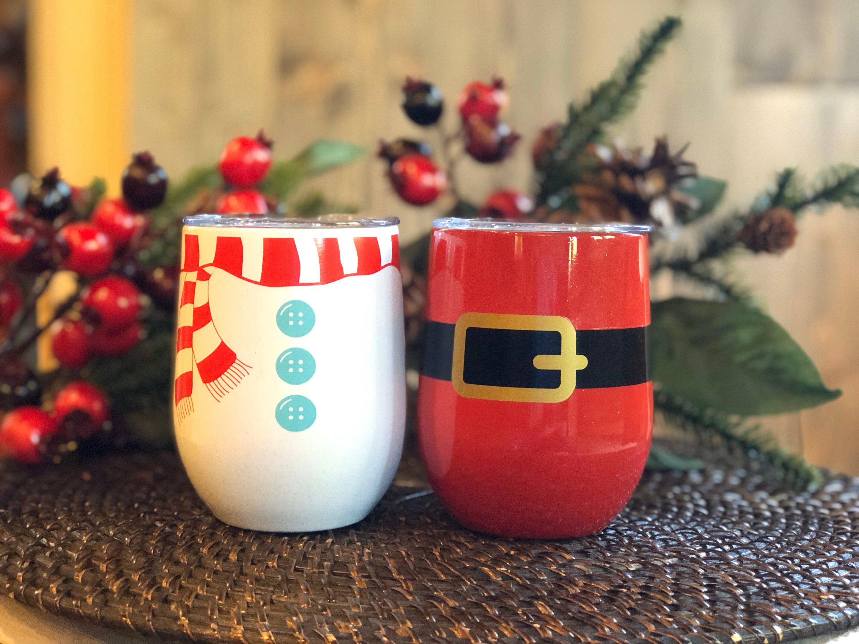 Set Of 2 Stemless Insulated Wine Cups Christmas Gift Etsy Christmas Hostess Gifts Wine Christmas Gifts Wine Gift Set