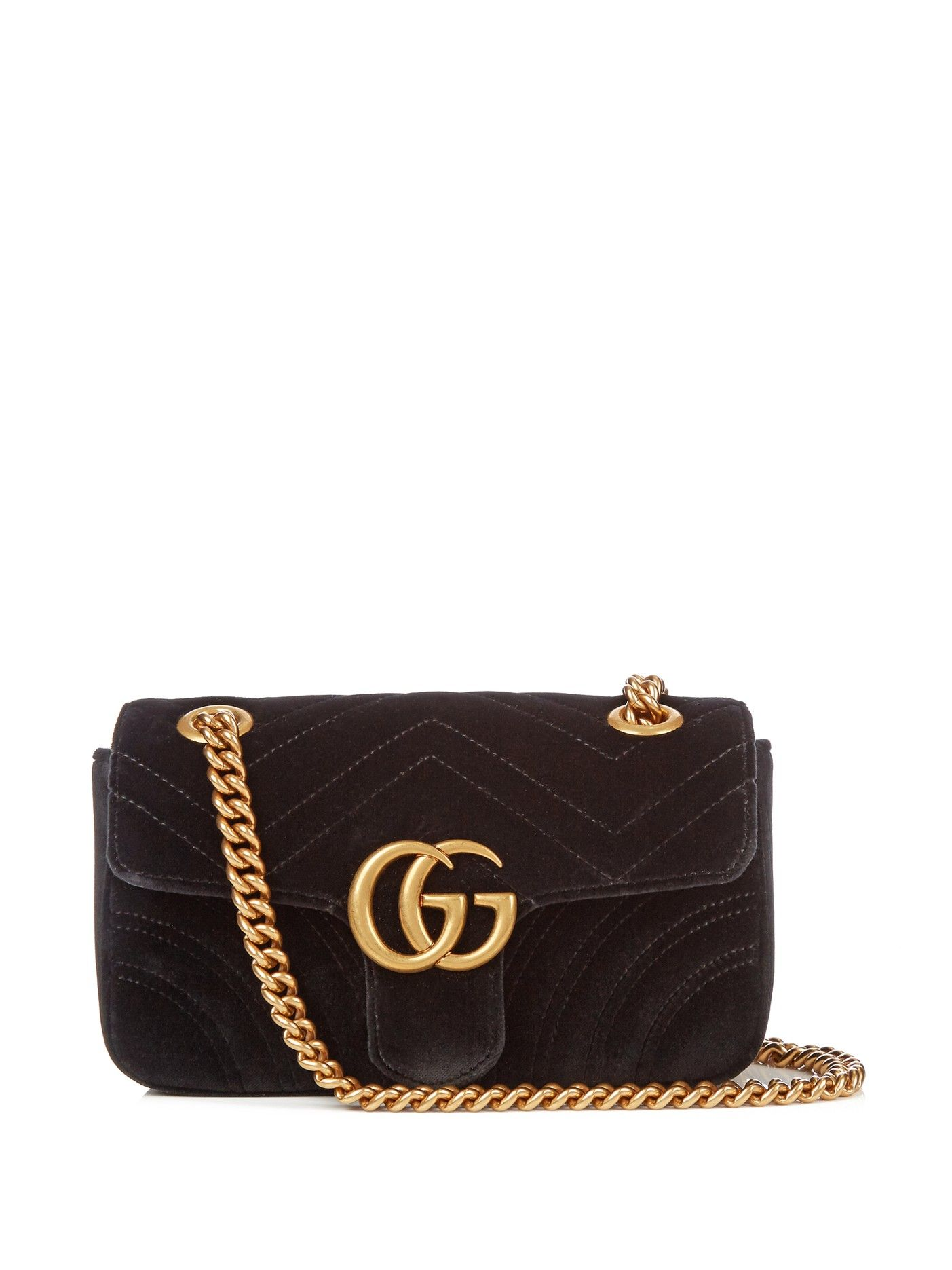 GG Marmont mini chevron-velvet cross-body bag   Gucci   MATCHESFASHION.COM US